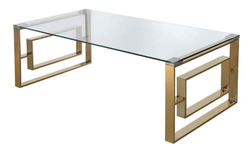 Amex Rectanlgle Coffee Table Steel & Glass Gold