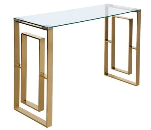 Amex Squared Console Table Stainless Steel & Glass Gold