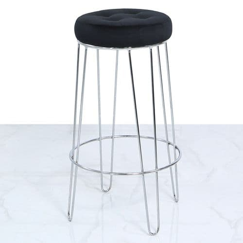 Atlas Black Velvet and Chrome Barstool
