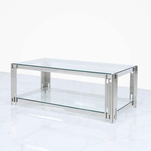 Hayden Glass Stainless Steel Coffee Table