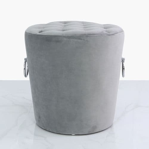 Round Velvet Stool With Buttons And Rings Grey