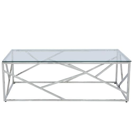 Ajax Stainless Steel Coffee Table Glass Top