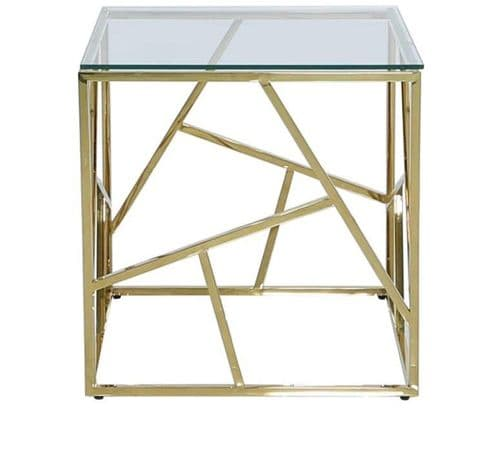 Ajax Stainless Steel Gold End Table Glass Top