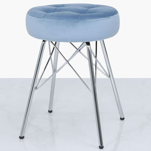 Arianna Tufted Round Stool Light Blue