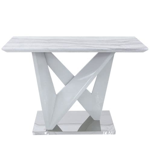 Aston Rect Marble Effect Console Table White