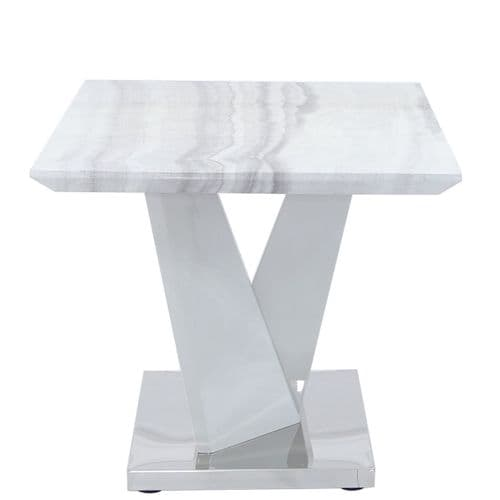 Aston Rect Marble Effect End Table White