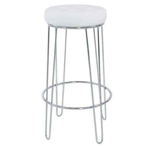Atlas Chrome and White Faux Leather Bar Stool