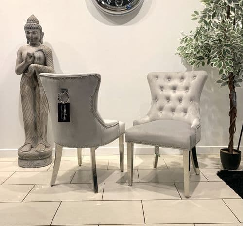 Aydin Dining Chair Brushed Velvet In  Silver - Sold In Pairs