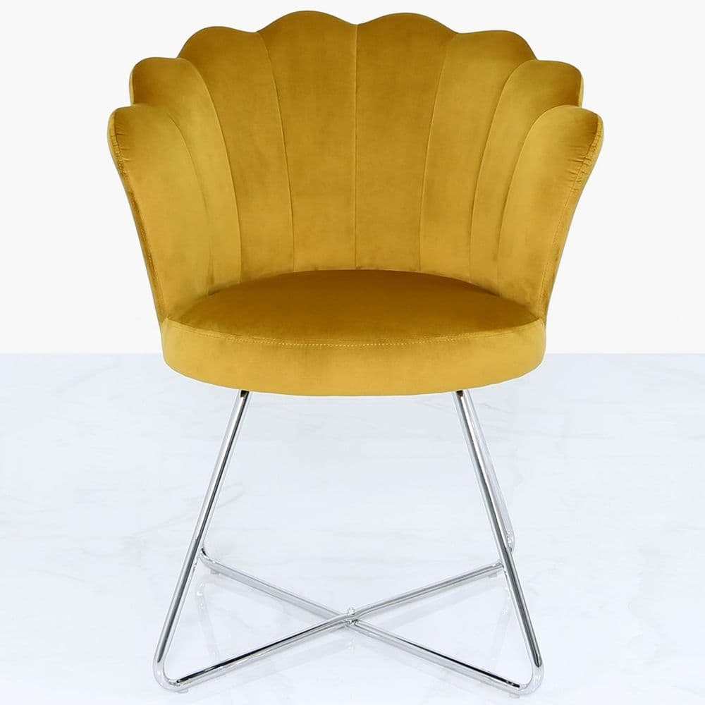 Ayla Shell Shape Accent Chair Mustard