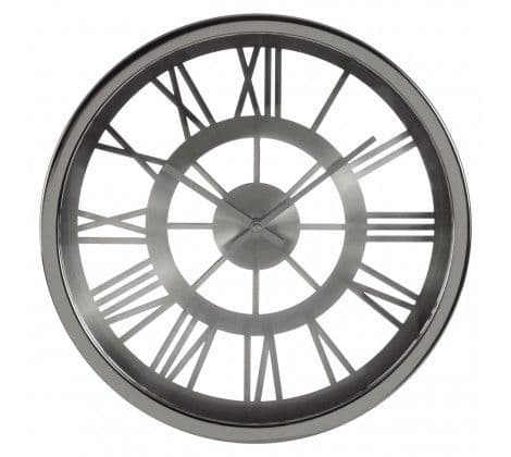 Bailey Wall Clock Silver Brushed Face Roman Dialds