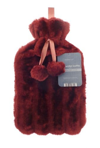 Cosy Faux Fur Hot Water Bottle With Pom Poms Berry Red