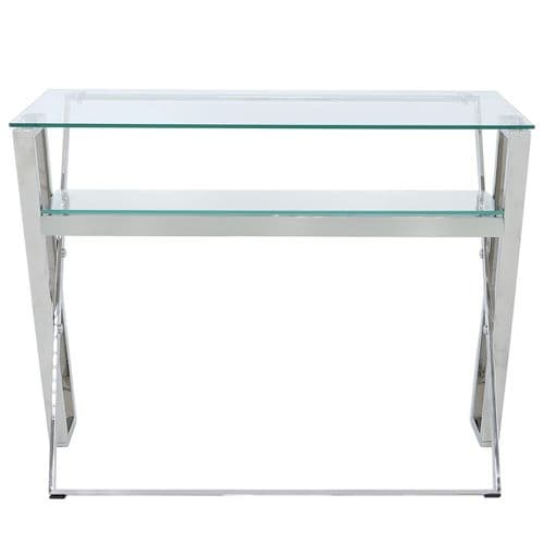Dalston Steel And Clear Glass Desk