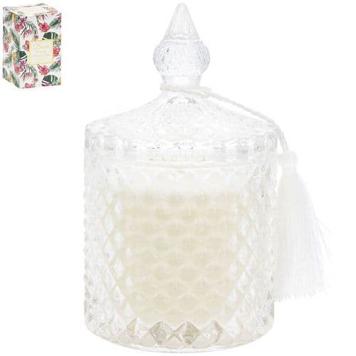 Desire Tropical Candle Glass Jar White Thread