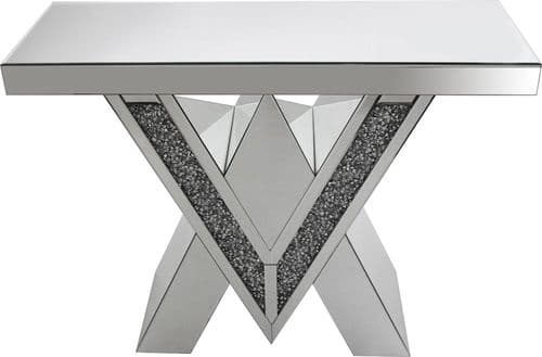 Falcon Crushed Stone Mirror Console Table With Beads