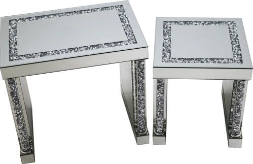 Falcon Crushed Stone Mirror Nest Table Set