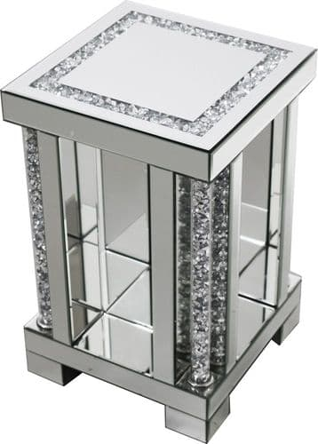 Falcon Crushed Stone Mirrored Lamp Stand