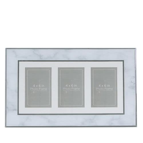 Grey Marble 3 Aperture Horizontal Photo Frame (4in X 6in)