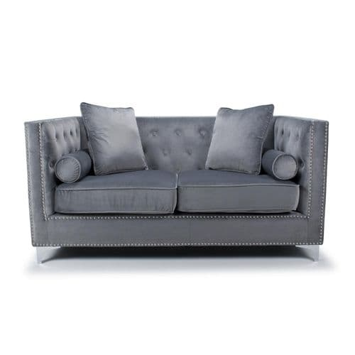 Hampton 2 Seater/Love Seat Sofa Brushed Velvet in Grey