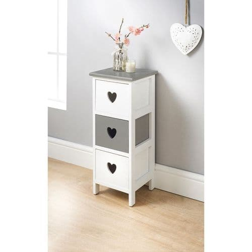 Heart Cut Out 3 Drawer Chest White & Grey