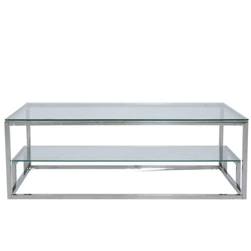 Henry 2 Tier Coffee Table Stainless Steel Glass Top