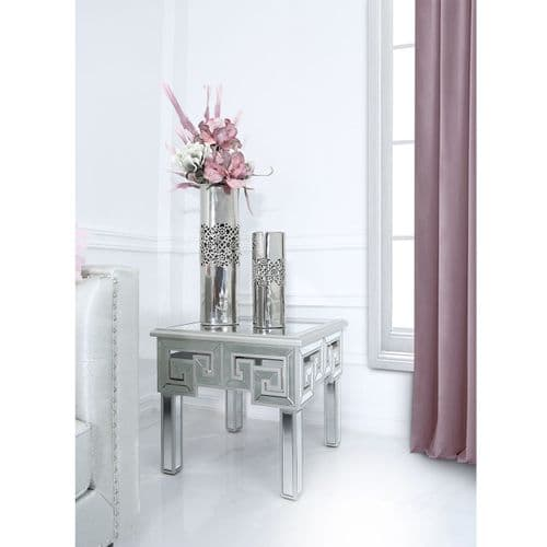 Hercules Mirror End Table with Silver Trim