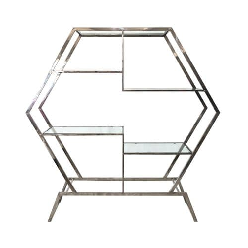 Hexagon Chrome & Glass Display Unit