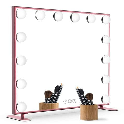 Hollywood  Make Up Mirror 14 LED Bulbs Rose Gold