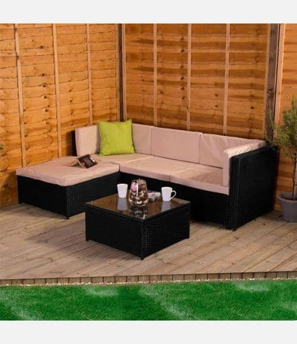 Kingston 4 Seater Rattan Corner Set with Table Black and Cream
