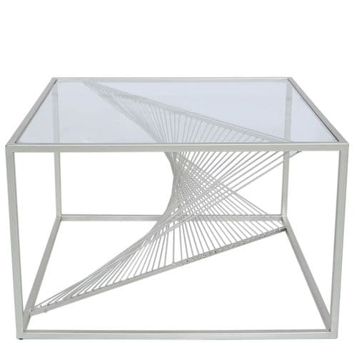 Lisa Silver Metal Coffee Table Clear Glass Top