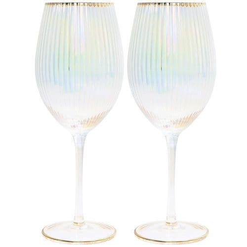 Lustre Ribbed Gold Trim Coupe Glasses  Set Of 2