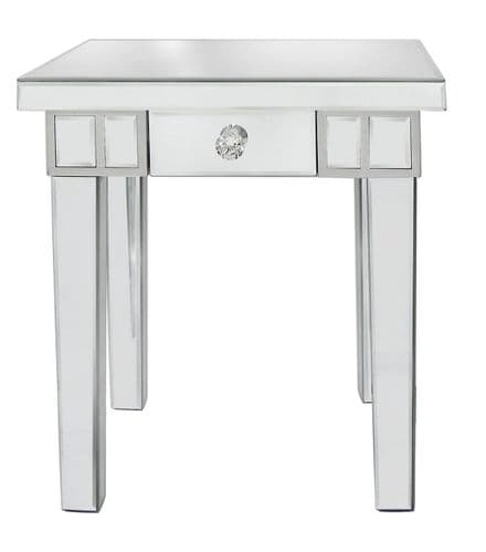 Luxe 1 Drawer Bevelled Mirror End Table