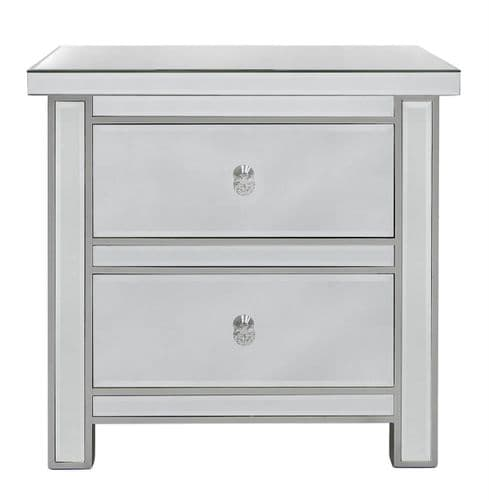Luxe 2 Drawer Mirror Cabinet bedside