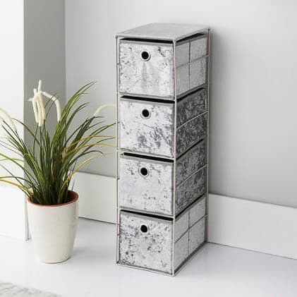 Luxe Faux Crushed Velvet 4 Drawer Unit