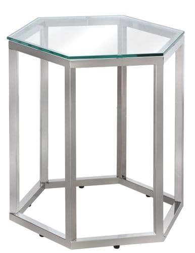 Luxe Hexagon End Table Stainless Steel