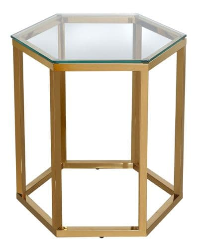 Luxe Hexagon End Table Stainless Steel Gold