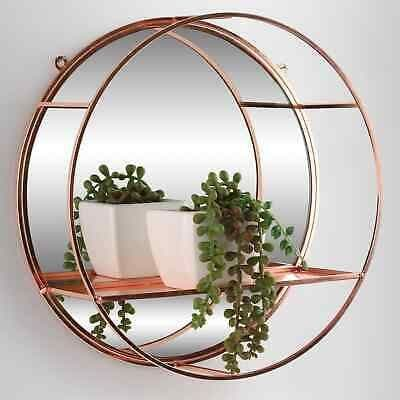 Luxe Rounded Mirrored Shelf - Rose Gold