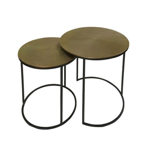 Luxe Sunil Set of 2 Black and Gold Nesting Tables
