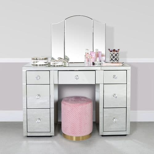 Macey Mirror 7 Drawer Dressing Table Unit