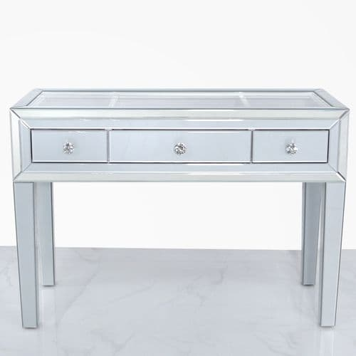 Mitcham 3 Drawer Display Console Table Grey Clear