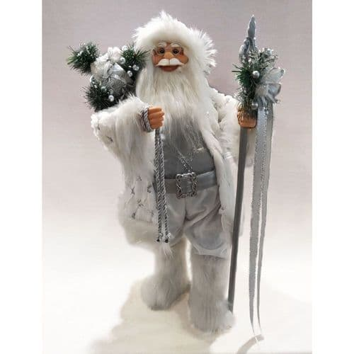 Plush Standing Decor Santa White & Silver 24""