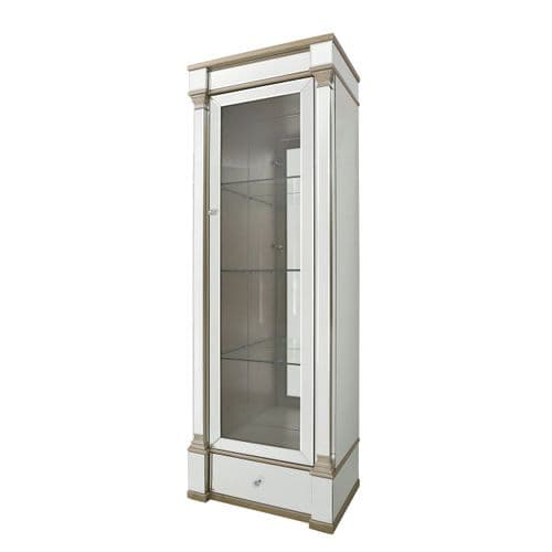 Pollo Tall Cabinet 1 Drawer 4 Shelf Display In Champagne Right
