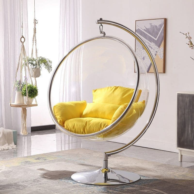Retro Hanging Bubble Chair With Yellow Cushions