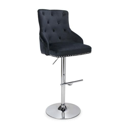 Rocco Brush Velvet Gas Lift Barstool
