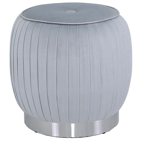 Round Stool Grey Silver Base