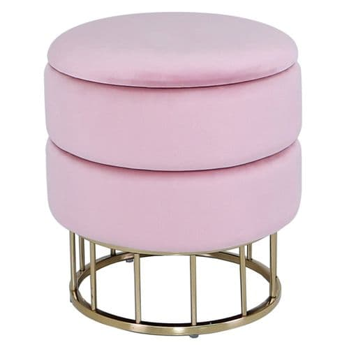 Round Storage Stool Blush Pink Gold Base