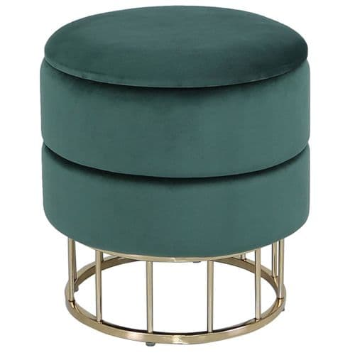 Round Storage Stool Forest Green Gold Base