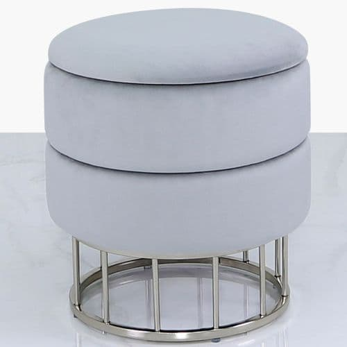 Round Storage Stool Grey Chrome Base