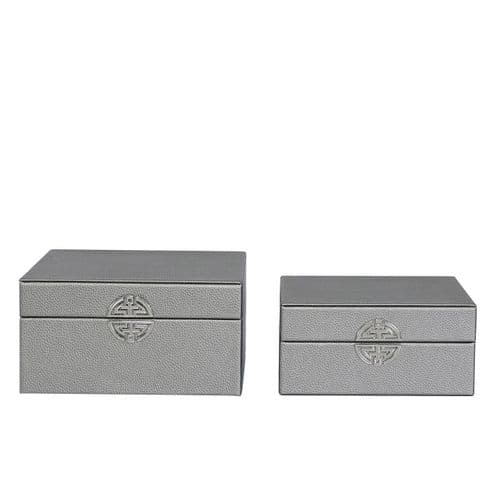 Set Of 2  Faux Litchi Grain Leather Jewellery Boxes Pewter