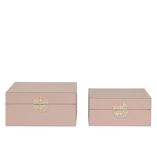 Set Of 2 Faux Lthr Jewellery Boxes Rose Pink Gold Handle