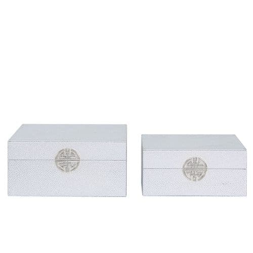 Set Of 2 Faux Stingray Jewellery Boxes Silver